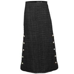 Chanel NEW Blue & Navy Tweed Maxi Skirt sz FR40