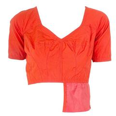 Jean Paul Gaultier Orange Cropped Shirt with Open Back circa 1990s