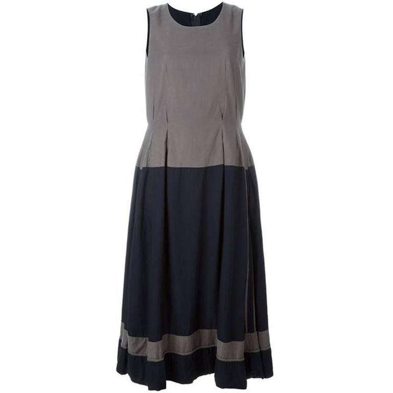 1998s Comme des Garcons Navy and Taupe Dress