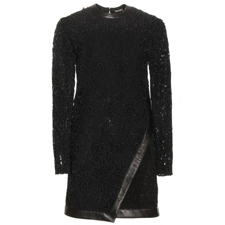 New Tom Ford Leather-Trimmed Guipure Lace Mini Black Dress 36 - US 6 For Sale