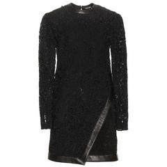 New Tom Ford Leather-Trimmed Guipure Lace Mini Black Dress 36 - US 6