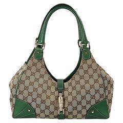 Tan & Green Gucci GG Canvas Jackie Bag