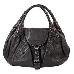 Dark Brown Fendi Spy Leather Shoulder Bag
