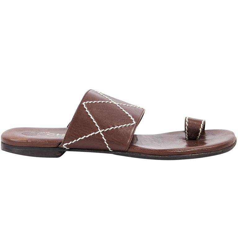 Brown Chanel Leather Flat Sandals