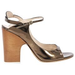 Bronze Chloe Leather Heeled Sandals