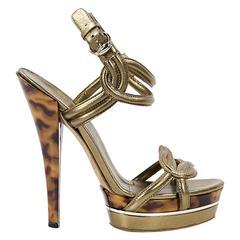 Gold Gucci Leather Platform Sandals
