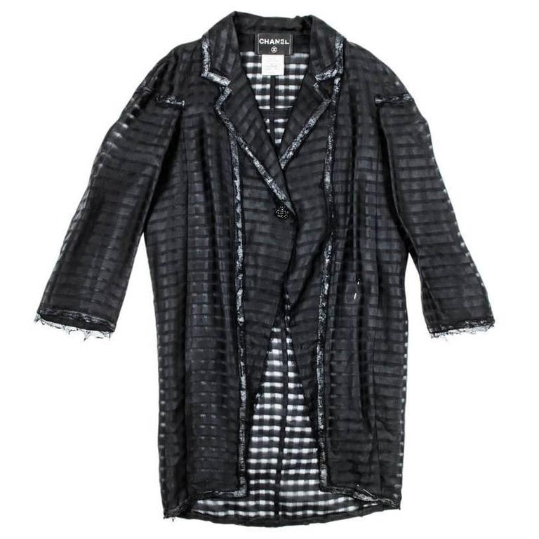 Chanel Black Organza long Loose Jacket 38