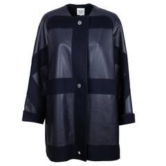 """Hermes Woman Coat """"5 H"""" Cashmere / Lamb Nappalise Blue / Black Color"""