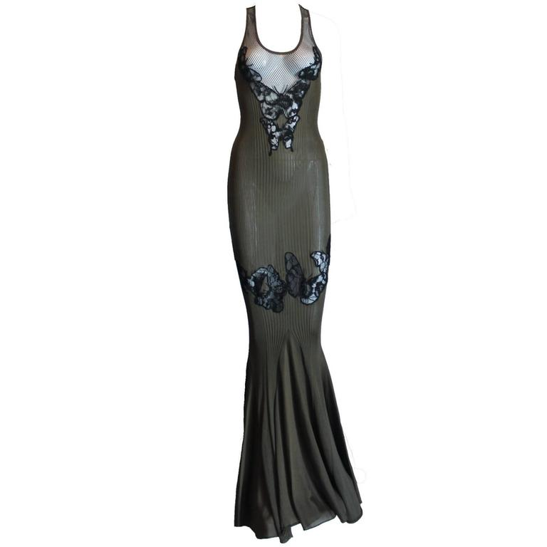 Stunning Emilio Pucci Silk Rib Lace Mesh Evening Gown Dress