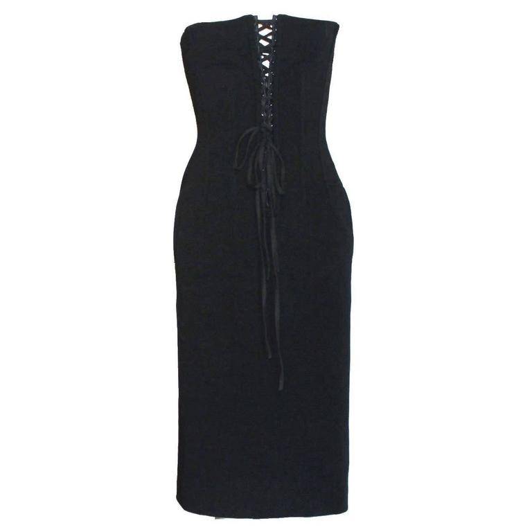 Breathtaking Dolce & Gabbana Hourglass Boned Corset Lace Up Dress LBD For Sale