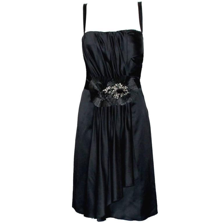 Black Dolce Gabbana Draped Corset Dress with Jeweled Crystals Ornament