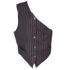 Jean Paul Gaultier Men's One Shoulder Double Pinstripe Vest circa early 1990s