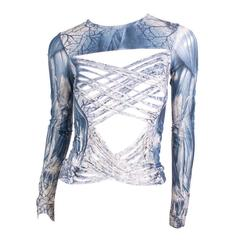 Jean Paul Gaultier Printed Top with Criss Cross Shreds circa mid 1990s