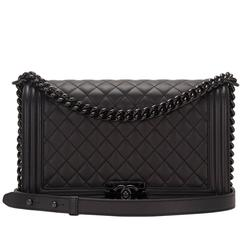 Chanel SO Black Quilted Grained Lambskin New Medium Boy Bag