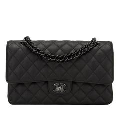 Chanel SO Black Crumpled Calfskin Medium Classic Double Flap Bag