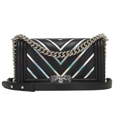 Chanel Black Chevron Iridescent PVC Medium Boy Bag