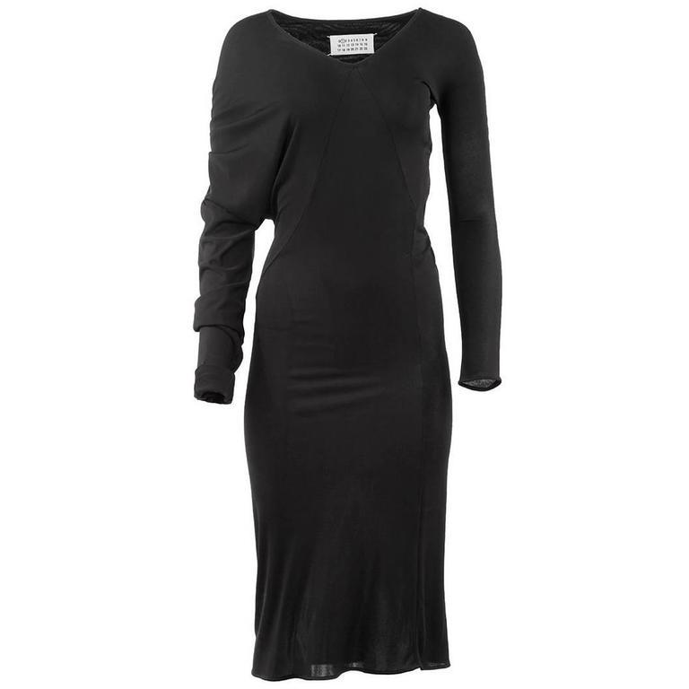 Maison Martin Margiela Black Asymmetric Long Sleeve Dress