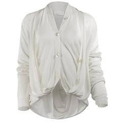 Maison Martin Margiela Artisanal White Cardigan with Vest
