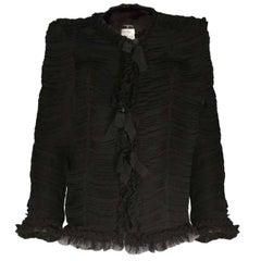 Chanel Black Silk Ruched Jacket sz FR42