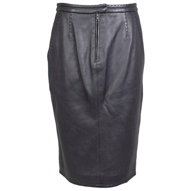Jean Paul Gaultier Black Leather Skirt circa 1990s