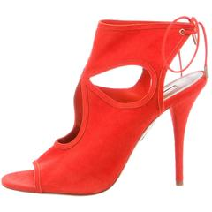 Aquazzura New Burnt Orange Red Cashmere Suede Cut Out Sandals Heels in Box