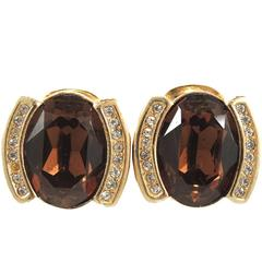 Vintage Signed Christian Dior Faux Amber & Crystal Clip Earrin