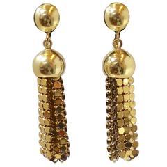 Vintage 1980s Mesh Drop Clip Earrings