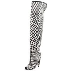 New TOM FORD Black/Chalk Woven Leather Over-the-Knee Boot