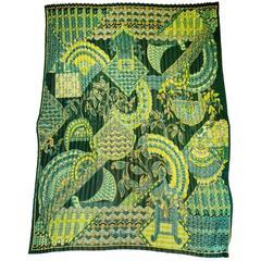 Salvatore Ferragamo Green & Gold Micro Pleated Silk Scarf