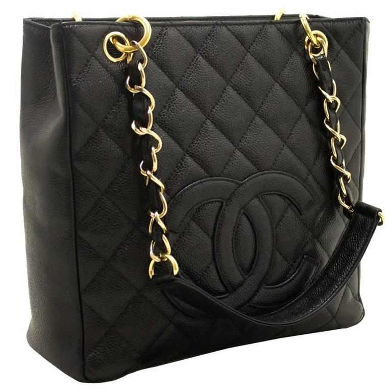 CHANEL Caviar Chain Shoulder Bag Shopping Tote Black Quilted Gold  For Sale