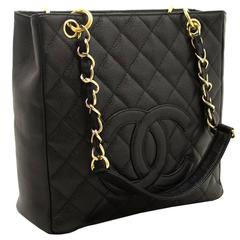 CHANEL Caviar Chain Shoulder Bag Shopping Tote Black Quilted Gold