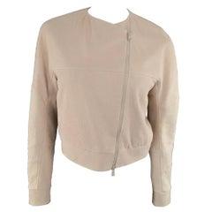 BRUNELLO CUCINELLI Jacket - Size 2 Rose Pink Textured Leather Moto