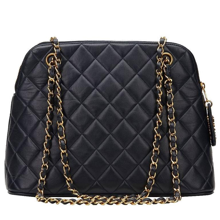1990s Chanel Navy Quilted Lambskin Vintage Timeless Shoulder Bag 1