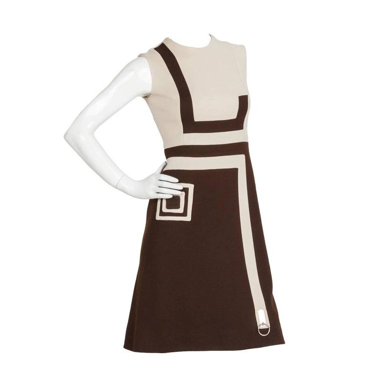 1970s Pierre Cardin Mod Graphic Jersey Wool Day Dress