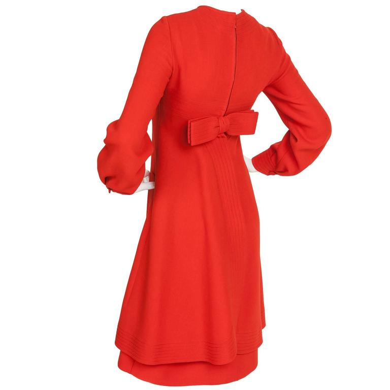Pierre Cardin Red Wool Dress w/Channel Stitched Design Motif ca. 1970