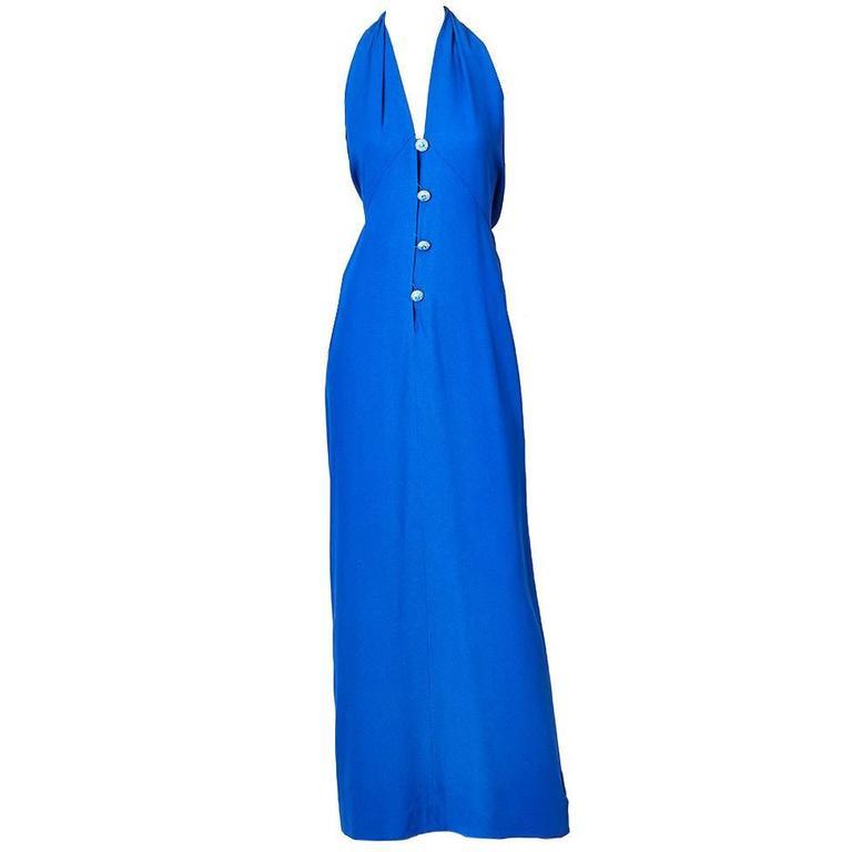 Yves Saint Laurent Crepe Halter Neck Gown