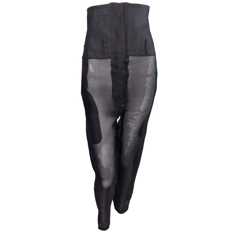 F/W 1995 Dolce & Gabbana Sheer Black Silk High Waisted Pin-Up Pants Large For Sale