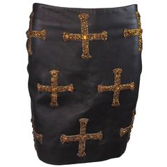 F/W 1997 Atelier Versace by Gianni Runway Crystal Cross Black Leather Mini Skirt