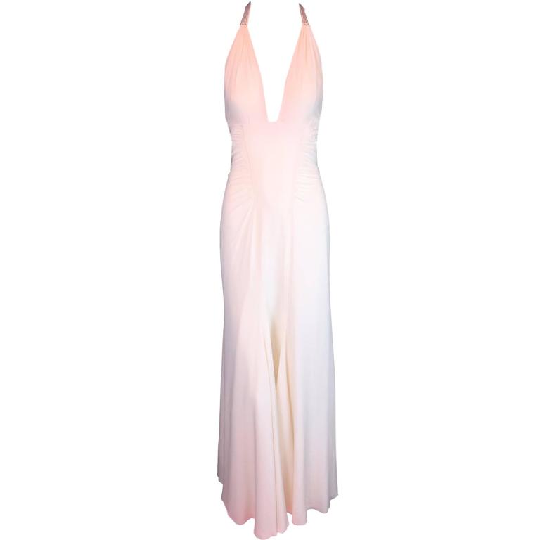 S/S 2004 Versace Marilyn Monroe Buckle Crystal Halter Ivory Dress Gown