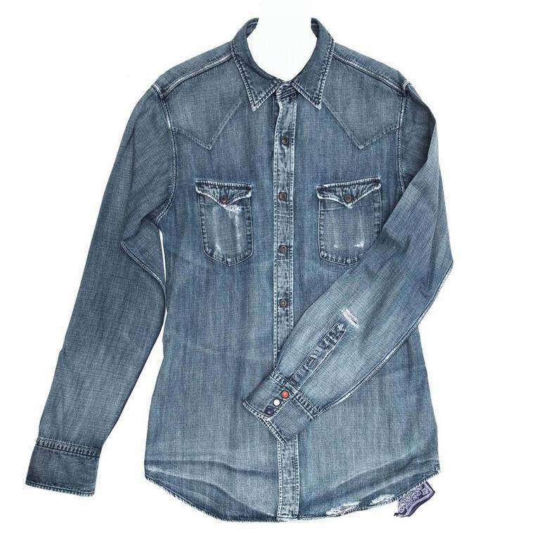 45rpm Blue Denim Shirt For Man