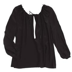 Saint Laurent Black Silk Peasant Style Top