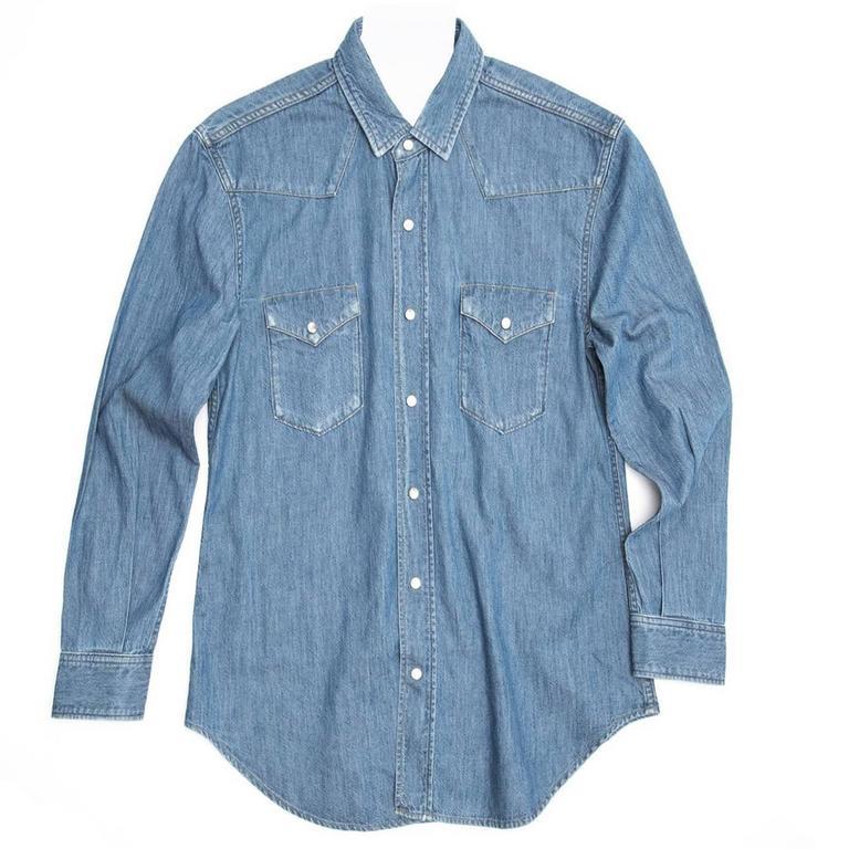 Saint Laurent Blue Denim Western Style Shirt
