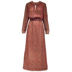 1970s Jean Louis red silk velvet maxi dress