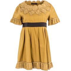 2007 Undercover Gold Silk Mini Skull Detail Dress