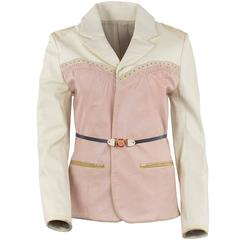 Undercover Ecru and Pink Leather Western Style Blazer