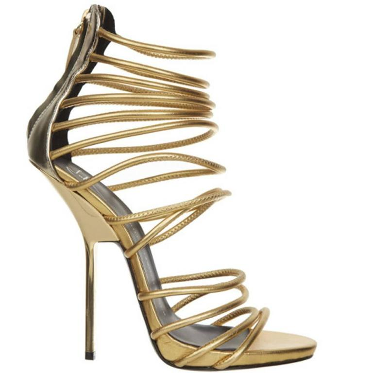 Giuseppe Zanotti Metallic Gold Strappy  Bangle Sandal  1