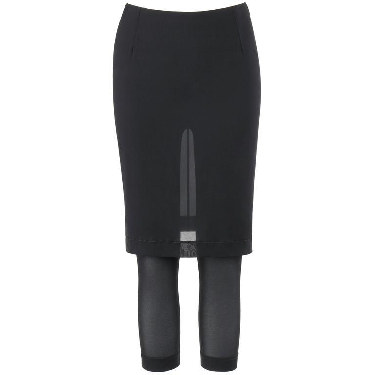 DOLCE & GABBANA c.1990's 2-in-1 Sheer Black Silk Blend Pencil Skirt w/ Leggings