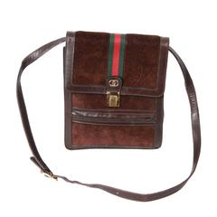 GUCCI VINTAGE Brown Suede CROSSBODY BAG Men Purse w/ Stripes