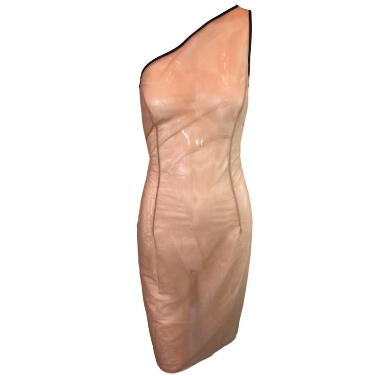 With Tags Michael Kors Nude Sheer Mesh One Shoulder Pencil Dress 4 For Sale