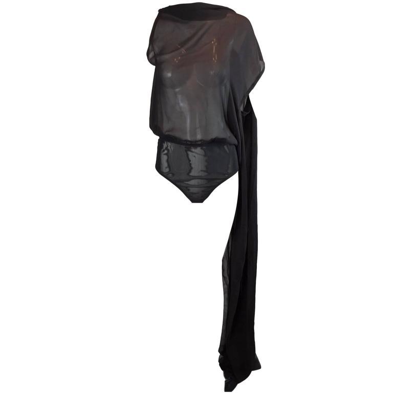 S/S 2000 Jean Paul Gaultier Femme Sheer Black Silk Backless Bodysuit Top Wrap